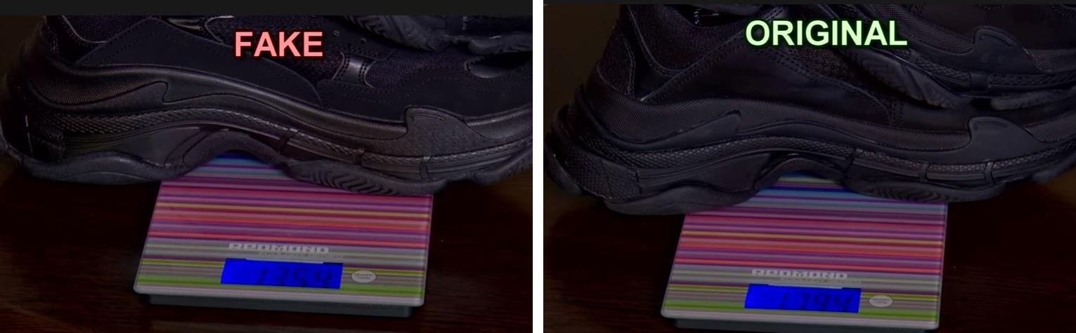Сравнение веса оригинальных кроссовок Balenciaga и подделки
