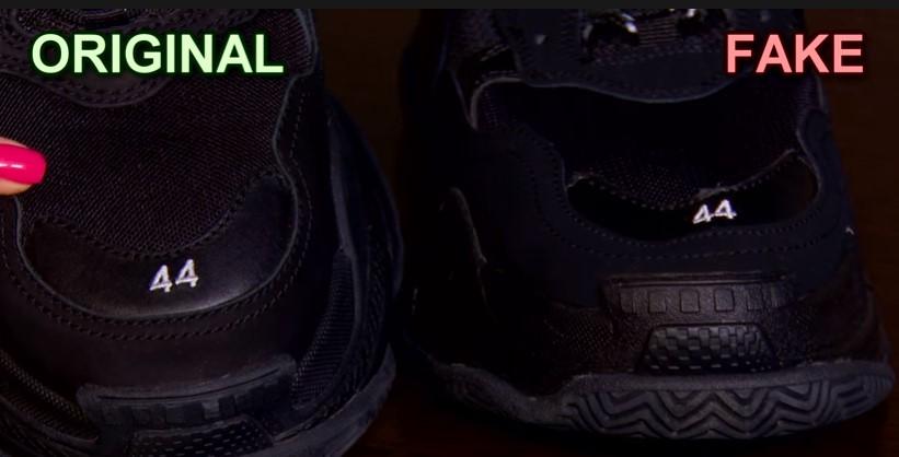 Размер на оригинальных кроссовках Balenciaga и подделке