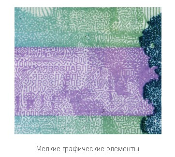 Мелкие графические элементы на купюре 1000 рублей