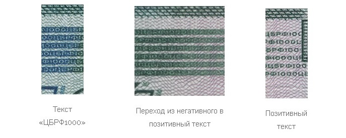Переход микротекста на купюре 1000 рублей