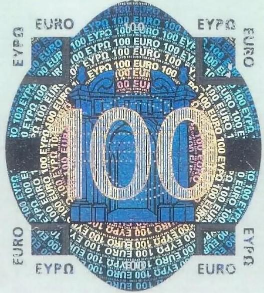 Голографический элемент на банкноте 100 евро