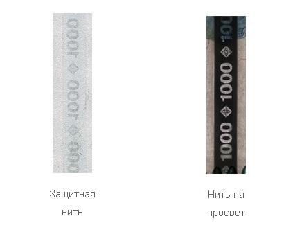 Защитная нить на купюре 1000 рублей