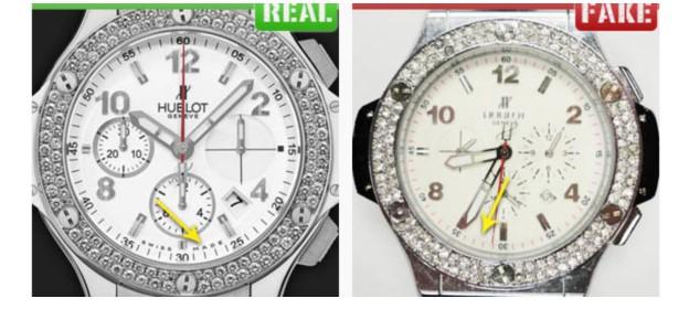 Надпись на циферблате оригинальных часов Hublot и подделки