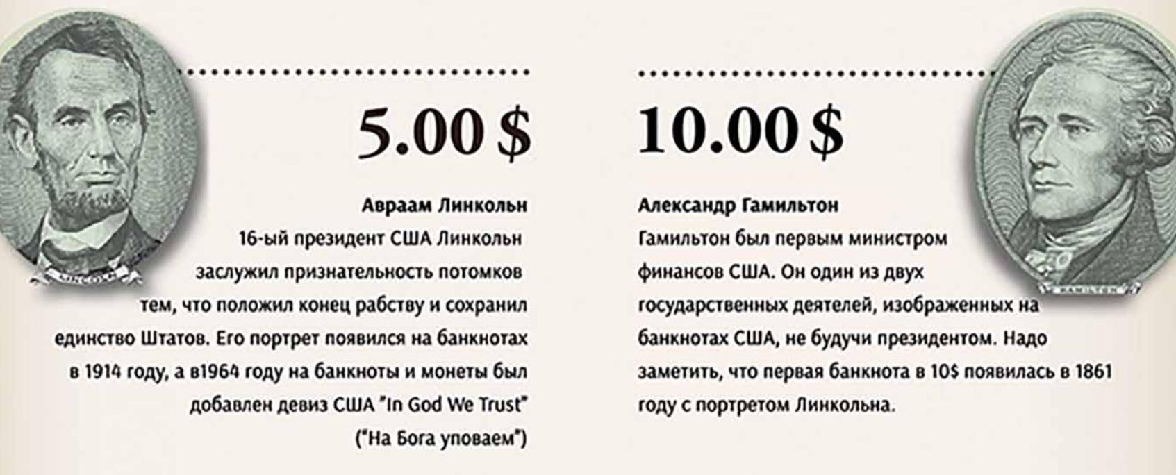 5 и 10 долларов США